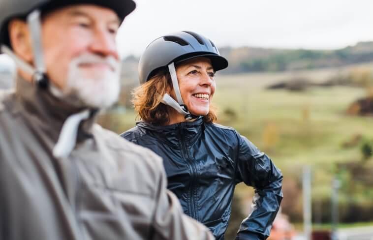 seniors wearing bike helmets